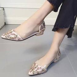 Hàng nhập-giày mũi nhọn đính hoa -GBB001109
