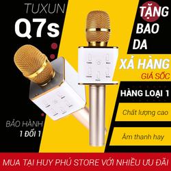 Mic bluetooth tuxun tunxun Q7S hát karaoke mic kem loa 3 trong 1