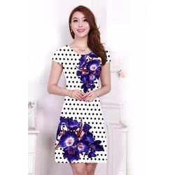 Đầm họa tiết hoa xanh chấm bi - ZaraNew