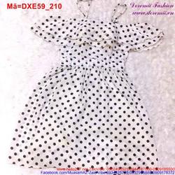 Đầm xòe 2 dây phối bèo chấm bi xinh iu DXE59