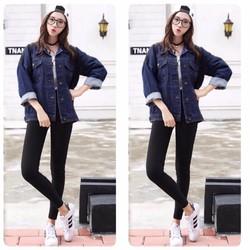 Áo khoác jeans phối túi nắp