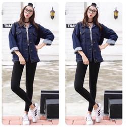 Áo khoác jeans túi nắp
