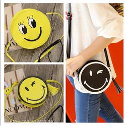Túi đeo chéo nữ da pu tròn mặt cười