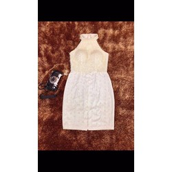 Đầm body cổ yếm đính hạt hàng thiết kế