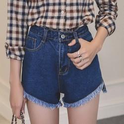 quần short jeans cạp cao tua Mã: QN712 - XANH