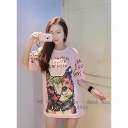 Đầm suông mèo tay con in chữ _MỎ CHU SHOP