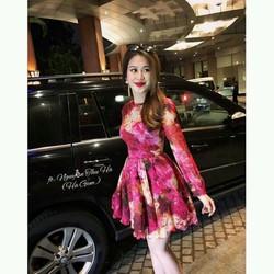 Đầm voan xòe hàng Quảng Châu