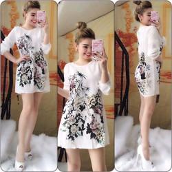 Đầm Suông Dạo Phố Tay Dài In Hoa