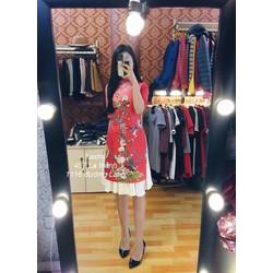 Set áo dài gấm kèm váy xoè _MỎ CHU SHOP