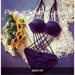 Sét bộ bikini và áo choàng đi biển hàng QC