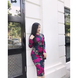 Đầm body hoa nhí tay dài _MỎ CHU SHOP