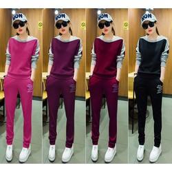 Bộ áo thun thể thao tay dài phối màu và quần dài xinh xắn - AV5443