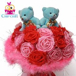 Hoa gấu bông ôm tim