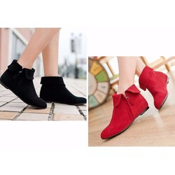 Giày boot nhung cổ lật đế thấp