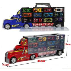 Siêu xe tải chứa 12 xe đua cho bé chơi xả dàn