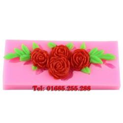 Khuôn rau câu 4D silicon – Hoa hồng chùm kèm lá - Mã số 22