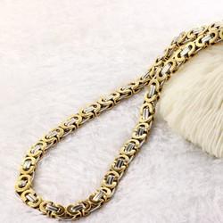 Dây chuyền nam inox Hàn Quốc kết hợp vàng trắng