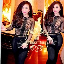 Bộ áo ren đen tay dài và quần tregging pha da cực xinh - AV3581