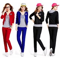 Bộ quần áo thể thao tay dài có nón và quần dài xinh xắn - AV5389