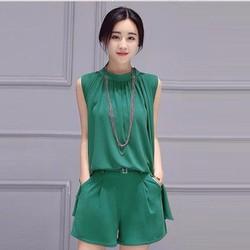 Set quần ngắn + áo xiết ly Hot Trend Hàn Quốc - N1365