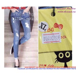 Quần jean nữ rách lưng cao form đẹp QJR168