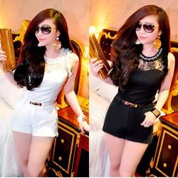 Bộ áo kiểu cổ ngọc trai tay xếp hoa và quần short - kèm belt - AV3473