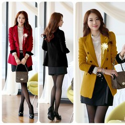 Áo khoác vest blazer tay dài đính hoa