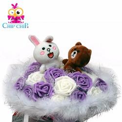 Hoa gấu bông thỏ cony và gấu brown