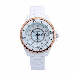 Đồng hồ nam dây đá ceramic Sinobi SI041 Trắng viền vàng