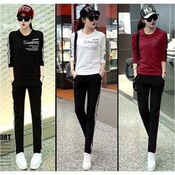 Bộ áo thun thể thao tay dài và quần dài phối 2 sọc - AV5345
