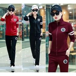 Bộ áo thun thể thao tay dài phối 2 sọc và quần dài xinh xắn - AV5351