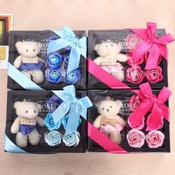 Quà tặng 8 3 Hoa Hồng Sáp 6 Bông Kèm Gấu at1350
