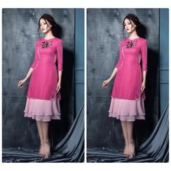 Sét váy tầng áo nhung kết hoa