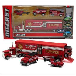 Bộ xe cứu hỏa trong siêu xe tải có cả trực thăng nhé