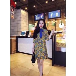 Đầm đuôi cá in hoa cột nơ _MỎ CHU SHOP