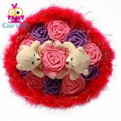 Hoa gấu bông trắng hồng