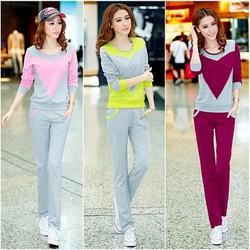 Bộ áo thể thao phối màu cách điệu và quần dài xinh xắn - AV5310