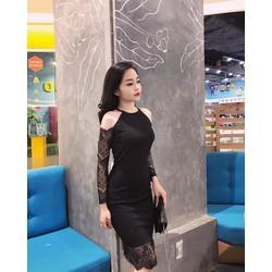 Đầm body cổ yếm khoét vai phối ren - DKN2659