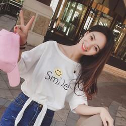 áo thun crop top smile Mã: AX3031 - TRẮNG