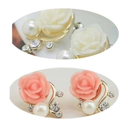 Khuyên tai nữ bông hồng ngọc trai