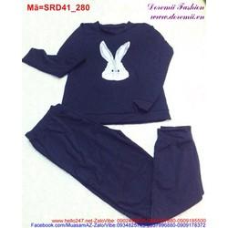 Set áo màu đen hình thỏ quần dài bo lai phong cách thể thao SRD40