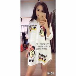 Đầm suông họa tiết Mickey