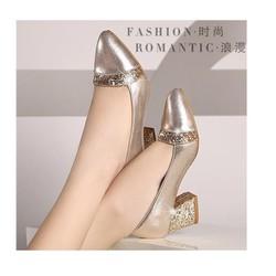 Giày cao gót đế vuông Gold