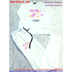 Set áo dài tay logo channel hoa quần dài màu trắng trẻ trung SRD43