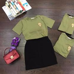 Sét áo thun tay con logo Chân váy siêu dễ thương