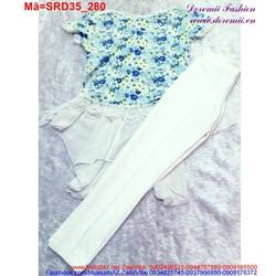 Set áo hoa phối voan cùng quần trắng nồi bật SRD35