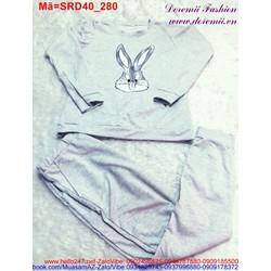 Set áo màu xám hình thỏ quần dài bo lai phong cách thể thao SRD40