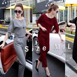 Bộ áo kiểu tay xẻ đính nút và quần dài cực hot - AV5243