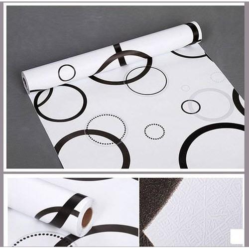 Decal dán tường  họa tiết vòng tròn trắng đen
