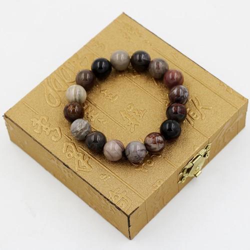 Vòng tay chuỗi hạt gỗ hóa thạch 12 ly